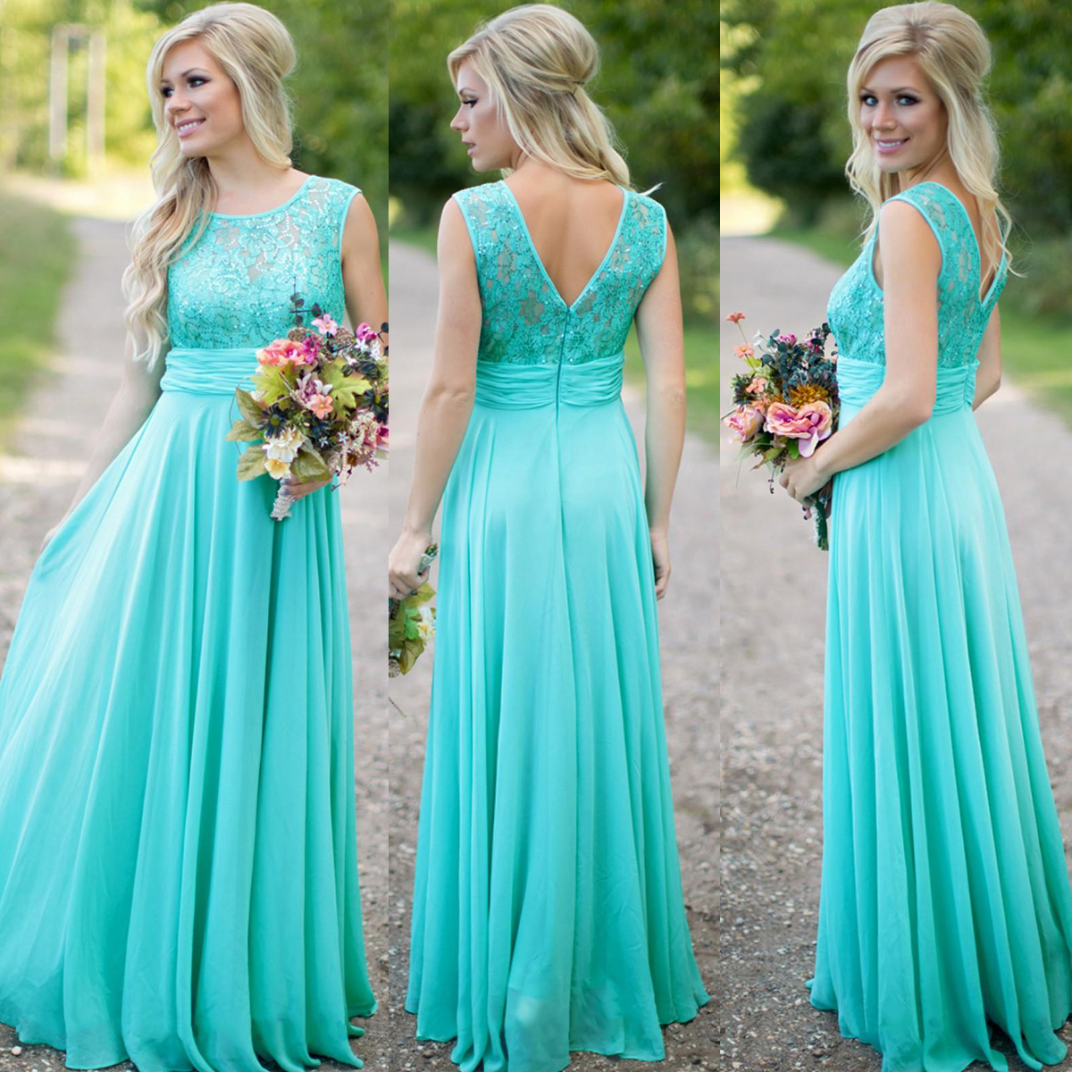d9b31ccc07 Floral Lace Prom Dresses with V-Back, Beaded Mint Prom Dress with Soft  Pleats, Sleeveless Chiffon Floor-length Bridesmaid Dresses, #01012813