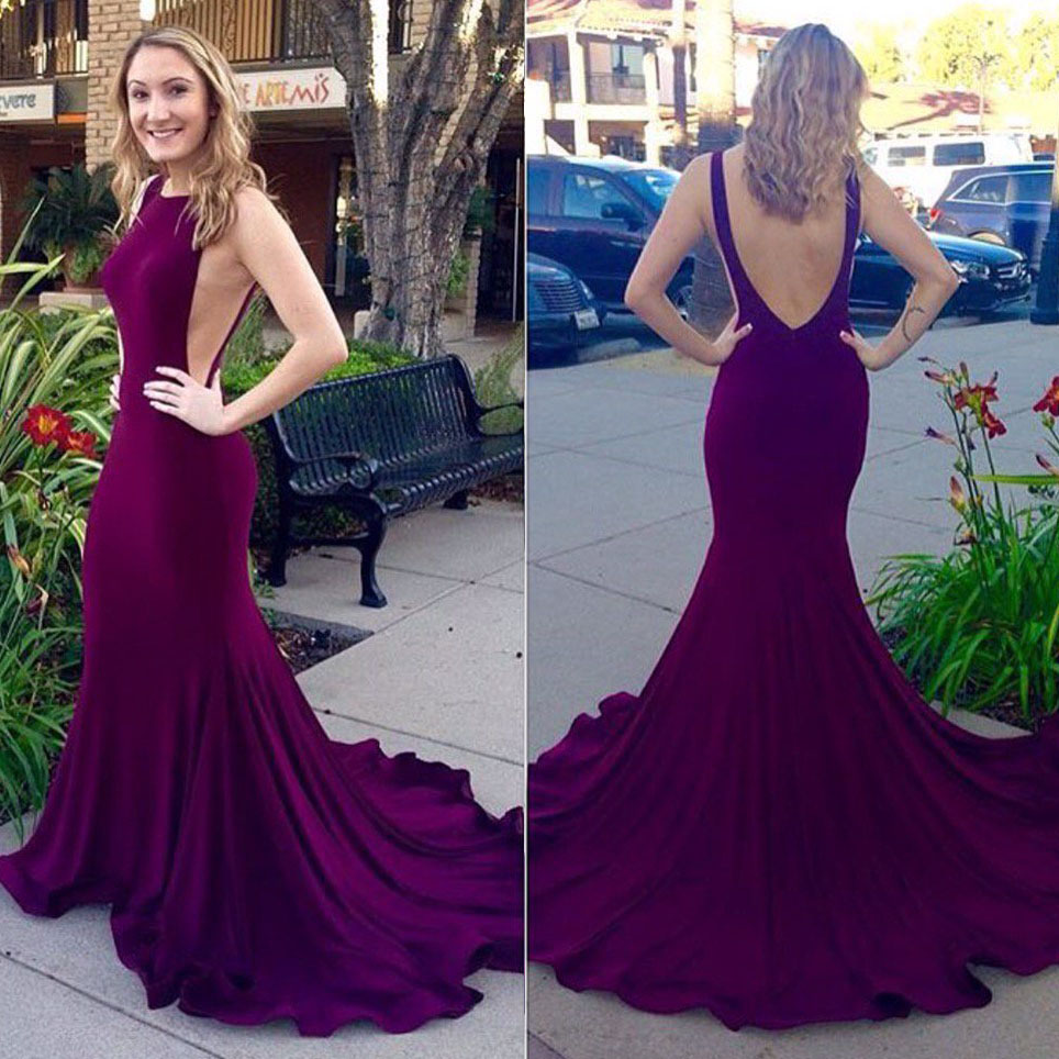Unique Purple Prom Dress With Court Train Sexy Backless