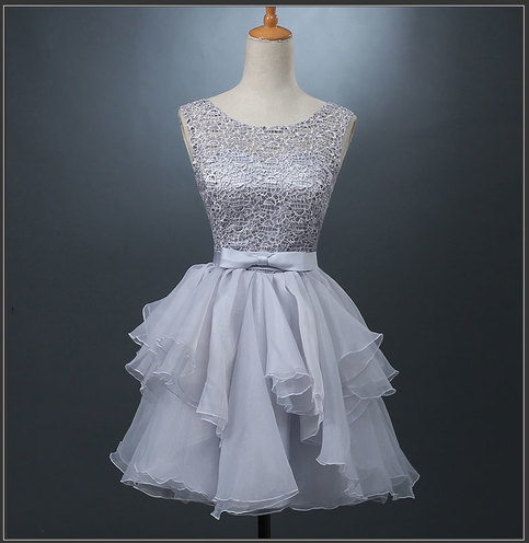 Cute Grey A Line Lace Short Prom Dress Homecoming Dress