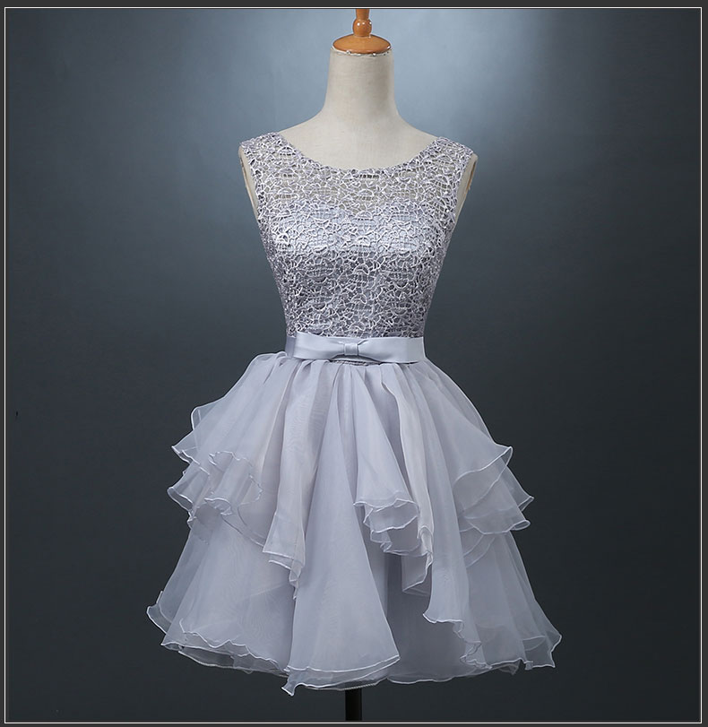 Cute grey A-line lace short prom dress 003dbe57e7fd