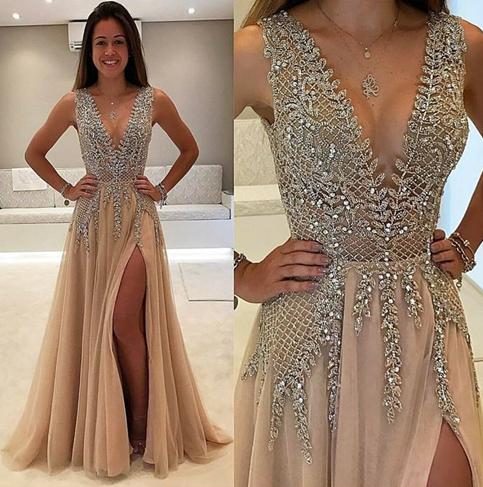 84501bbc71 Amazing champagne v neck long prom dress