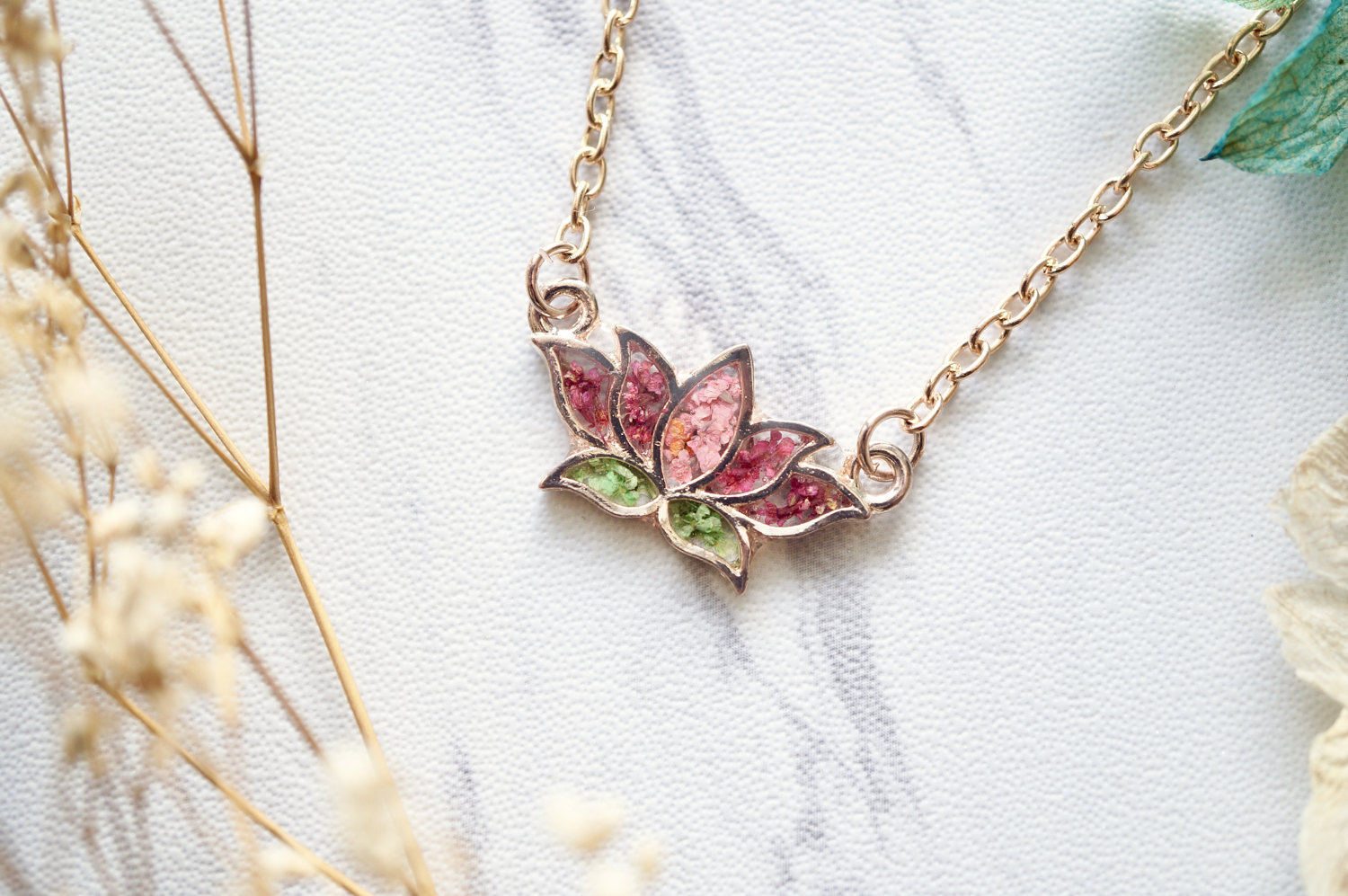 Real Pressed Flowers And Resin Necklace Rose Gold Lotus Flower In