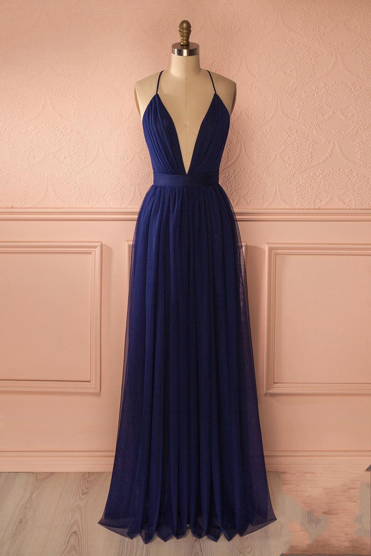 043101377f9 Simple Sexy A-Line Deep V-Neck Navy Blue Long Prom Dress on Storenvy