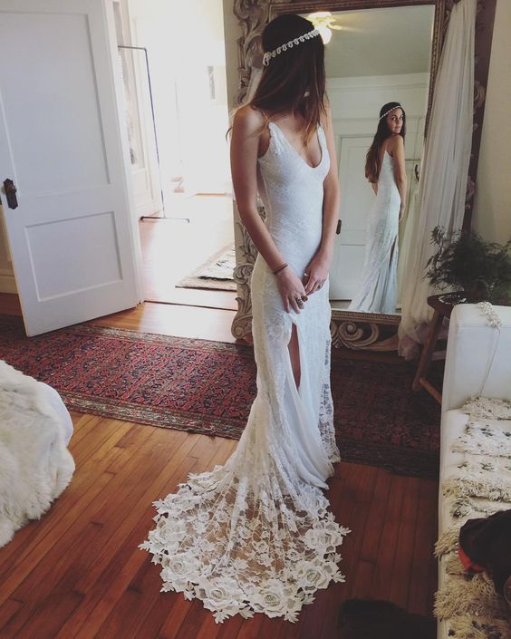 Romantic Bohemian Wedding Dresses.Romantic Boho Wedding Dresses Backless Lace Skirt Mermaid Elegant White Wedding Gowns Xw20 From Special For You