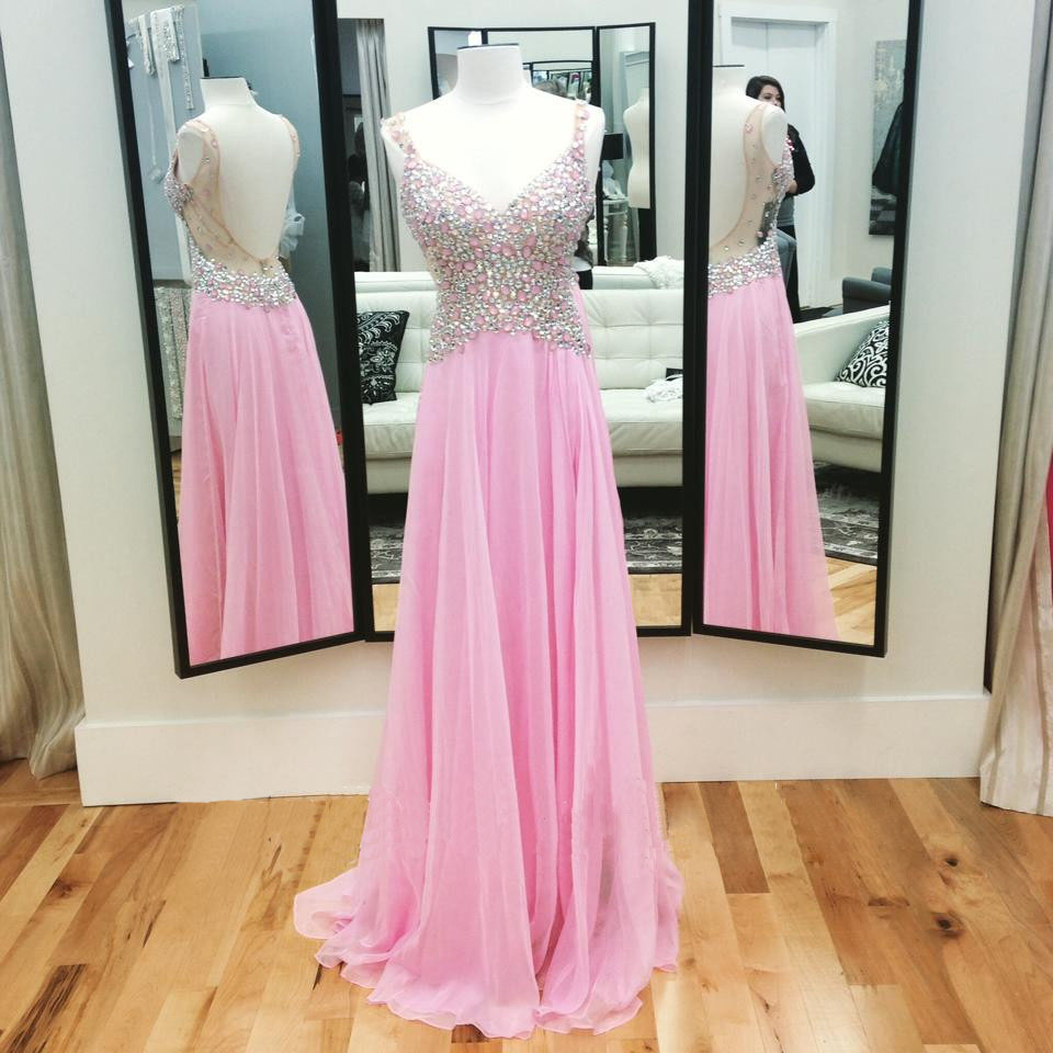 fe09cfc2d25 Charming Prom Dress Prom Dresses A Line Pink Evening Dresses Beads Crystal  Formal Party Gowns
