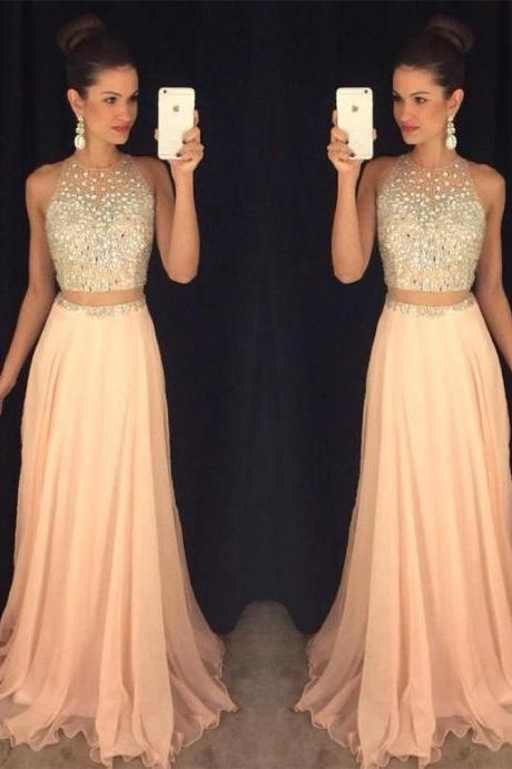 Sexy Peach Prom Dress, Beading Prom
