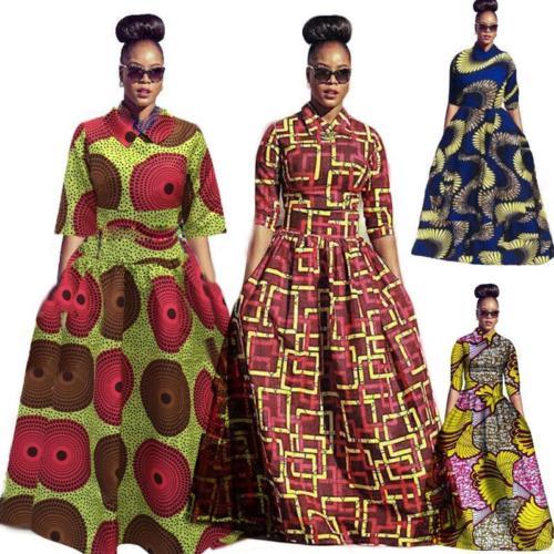 ba37c0b07df Fashion Women Traditional African Print Dashiki Party Plus Size Long ...