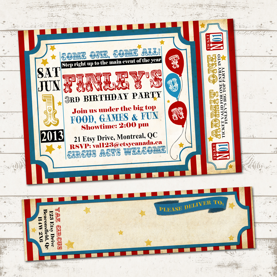 circus birthday invitation with wrap around address labels vintage