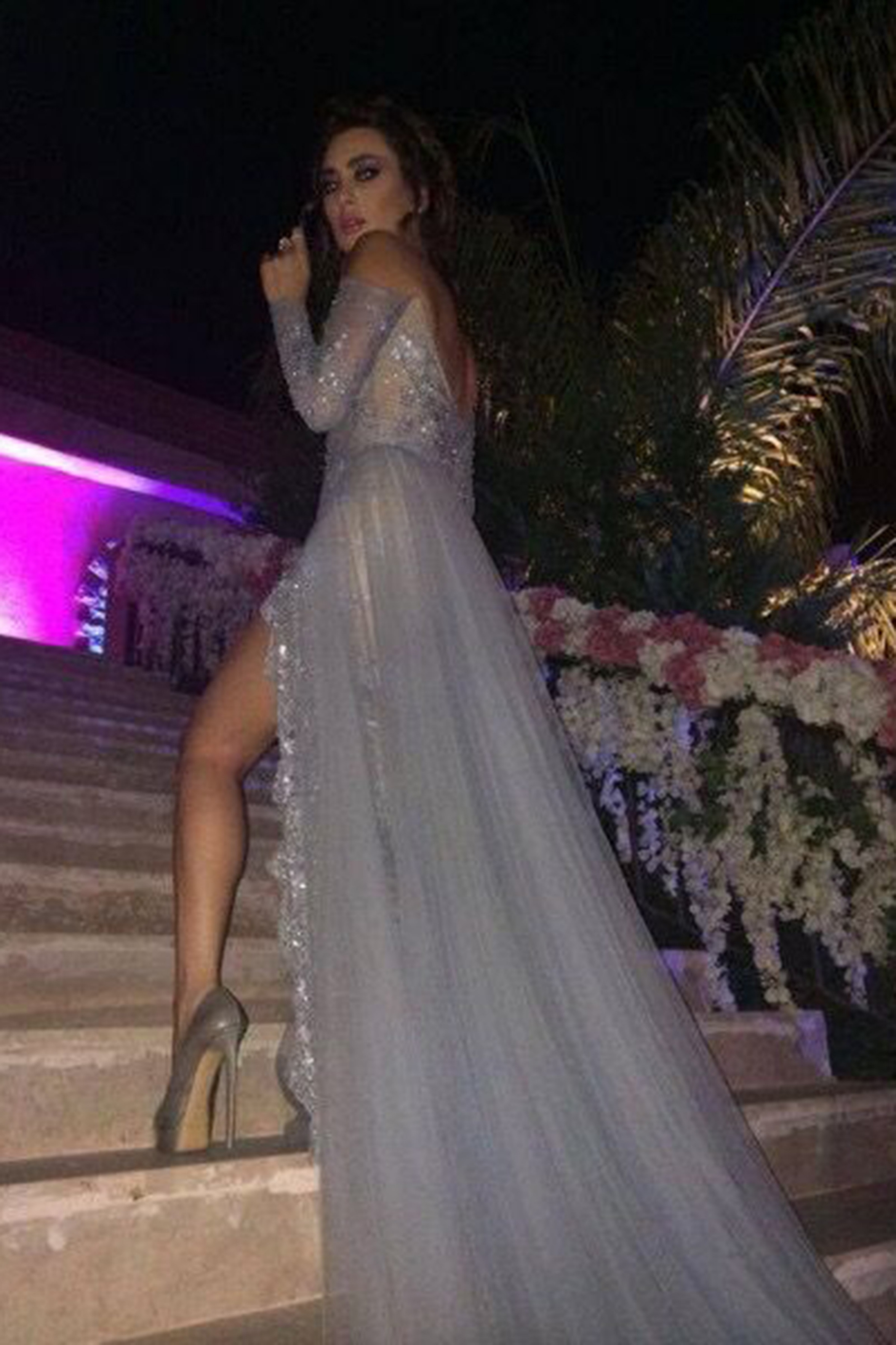 45b9512168f Gray tulle lace off-shoulder long sleeves sexy slit ruffles train ...