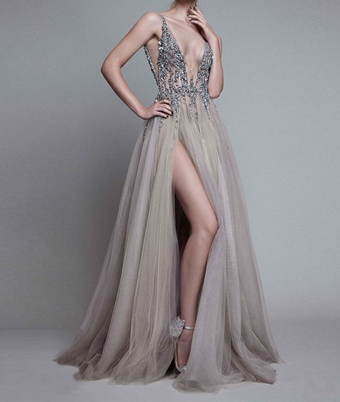 Sweetheart High Quality A Line Prom Dresses V Neck Prom Dresses Lace Prom Dresses With Slit Prom