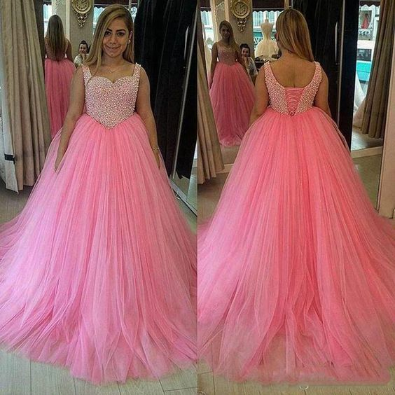 P194 Lace Up Pink Wedding Dress, Ball Gowns