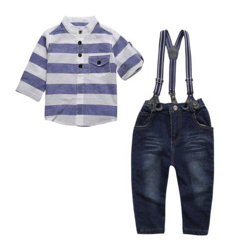 35719db72dc8 2pcs Toddler Kids Baby Boy T-Shirt Tops+Denim Pants Clothes Outfit ...