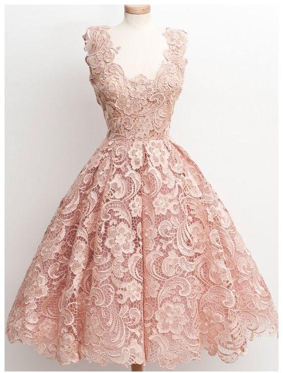 d3aeffba995 Vintage a line scalloped edge knee length 50s lace black prom homecoming  dress 1 original