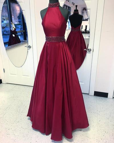 Halter High Neck Burgundy Taffeta Prom Dresses,Long Formal