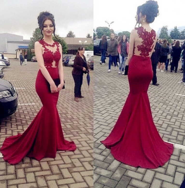 Gorgeous Red Mermaid Prom Dress,2017 Pageant Gown With Lace ...