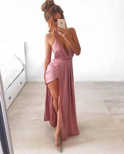 2ea0574c0310 Sexy Maxi Dress, Romantic Pink Chiffon Long Prom Dresses,Prom Dresses,Chiffon  Prom