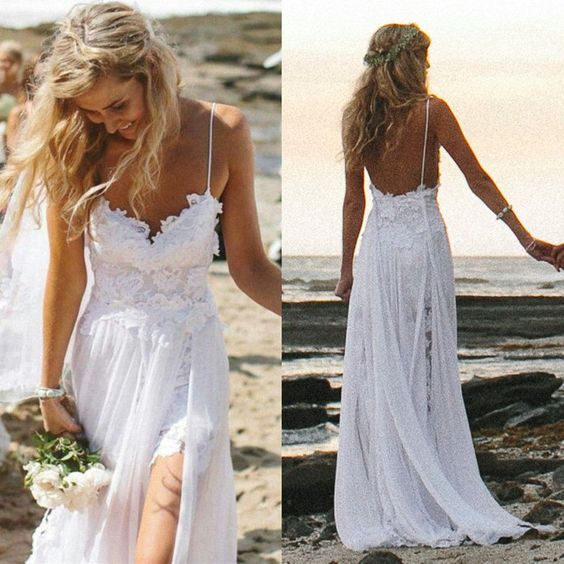 31d0c1b702 XP59 Boho Summer Beach Wedding Dresses A Line Spaghetti Straps Lace Bodice  Chiffon Skirt Backless Open Back White Wedding Gown on Storenvy