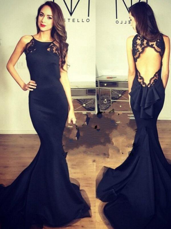 e7f3f10271e Sexy Prom Dress,Black Trumpet Mermaid Scoop Floor-length Satin Custom Evening  Dress