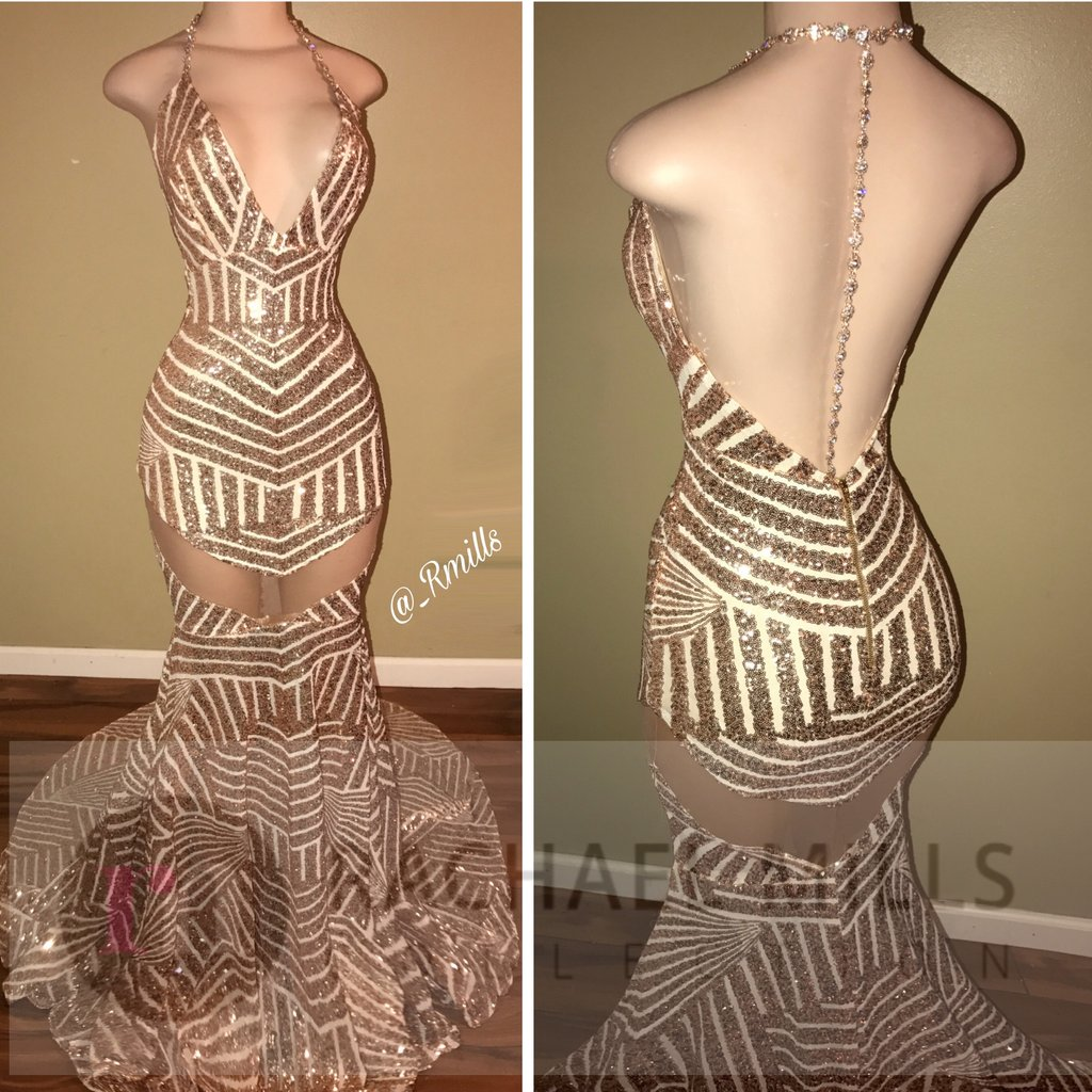 a81aa6c342f2 Sexy Mermaid Long Halter Champagne Sequins Long Prom Dress Evening Dress on  Storenvy