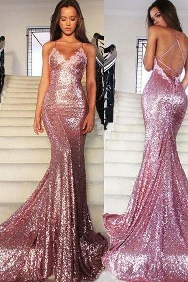 Gold Open Back Prom Dresses
