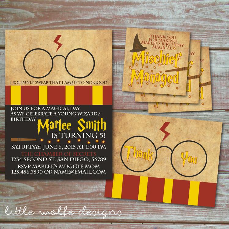 Harry Potter Invitation Set Little Wolfe Designs Online Store
