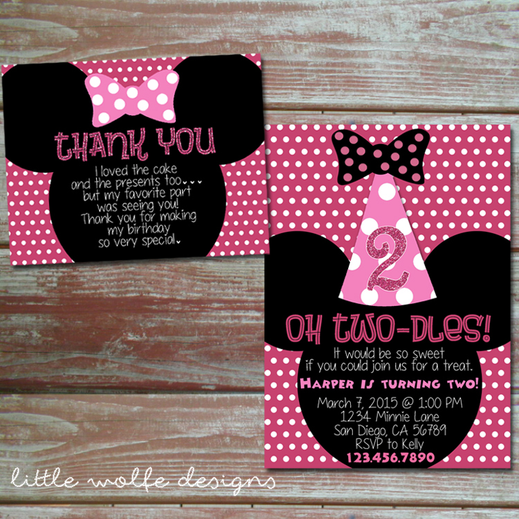 Minnie 20mouse 20birthday 20party 20invitation 20and 20thank 20you 20card Original