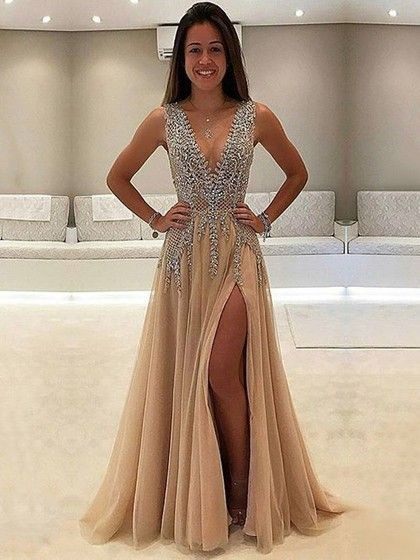 Luxurious A Line V Neck Sleeveless Split Front Long Prom