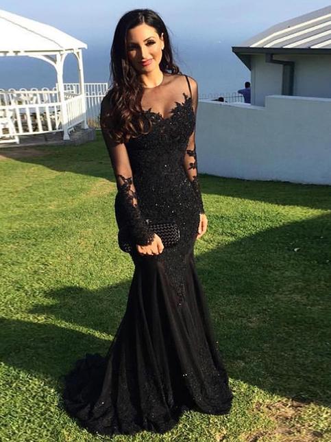 Black Prom Dress Trumpet Mermaid Scoop Chiffon Floor