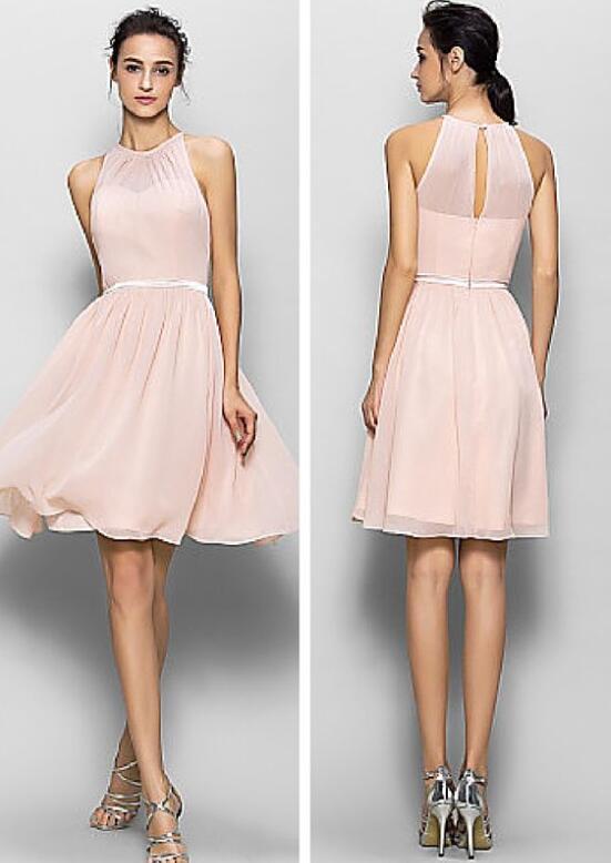 Knee Length Blush Pink Prom Dresses