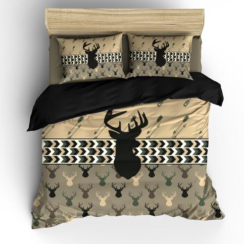 Custom Camo Color Deer Head And Arrows Duvet Cover Or