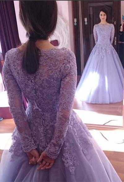 c547ebfe6 AM287 Princess Long Sleeve Prom Dresses,Lilac Quinceanera Dresses, Scoop  Prom Dresses, Appliques