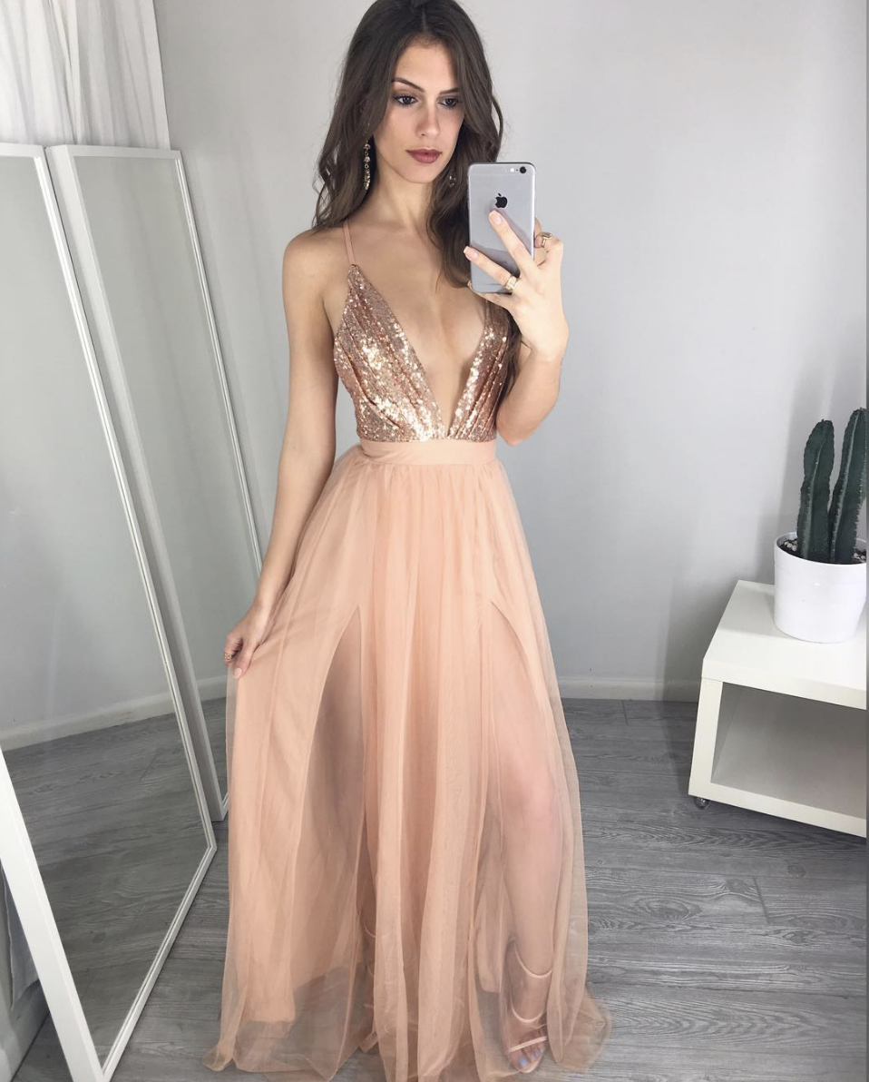 LoliPromDress Handmade Unique V Neck Sequin Long Prom Dress Evening ...