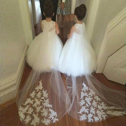 White A Line Long Flower Girl Dress With Lace Train On