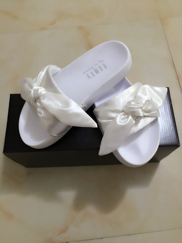 new product a296e b837c Fashion Fenty x Rihanna Bandana Women's Bow Slides white from supplier