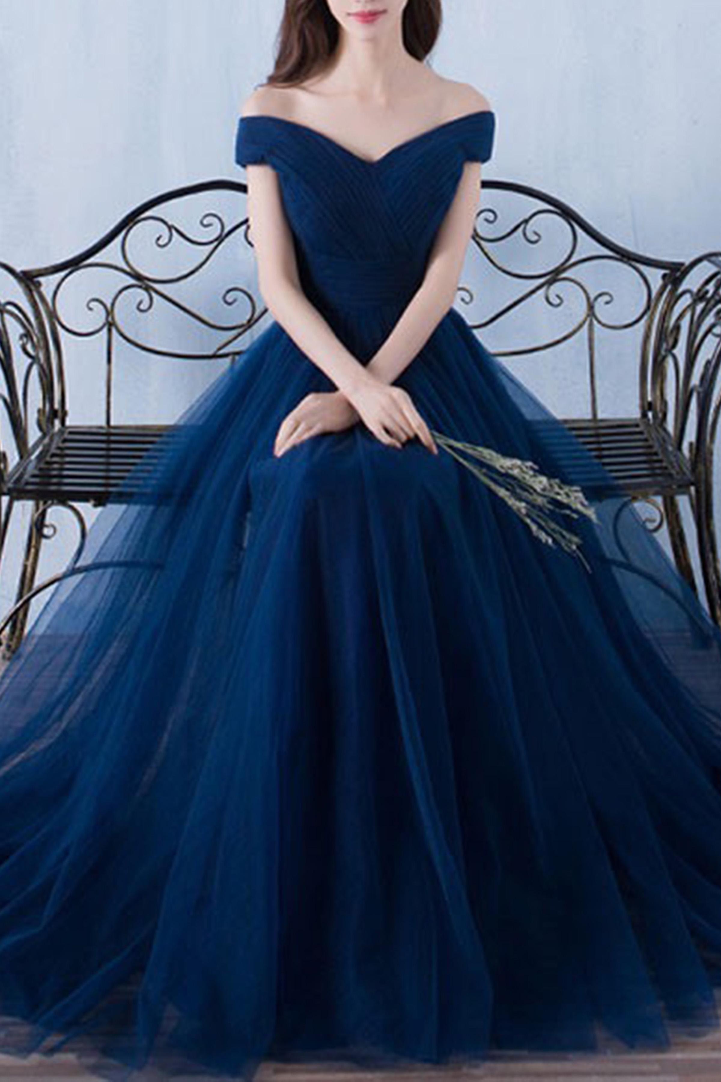 off-shoulder Dark blue tulle organza A-line long prom dresses ...