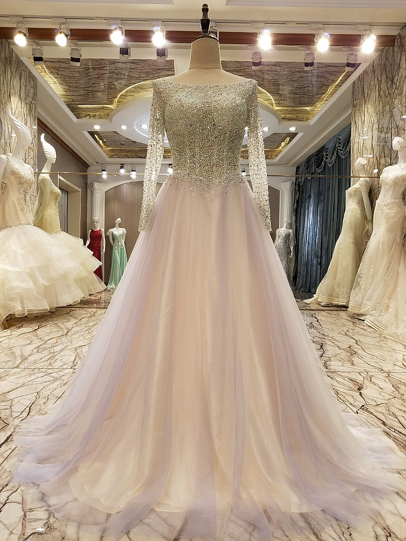 1687cbfaa3c Xp41 20fashion 202017 20new 20luxury 20evening 20dress 20high end 20the  20bride 20married 20crystal 20beading 20long 20sleeved