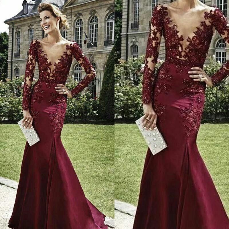 865c97c7f3 Burgundy Plunge V Neck Long Sleeve Illusion Bodice Mermaid Prom Dress