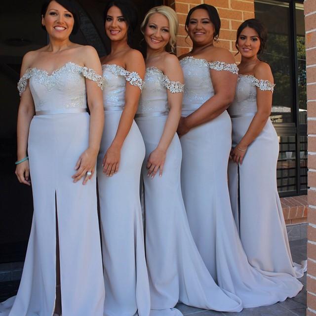 S250 Off The Shoulder Lace Split Bridesmaid Dress Cheap Simple Plus