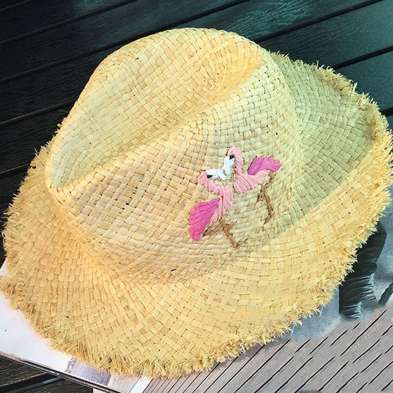 Flamingo Braided Floppy Sun Straw Hat on Storenvy 5687ae0ae660