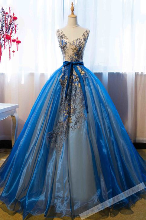Blue Organza Applique V Neck A Line Prom Dress Ball Gown