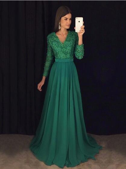 Green Prom Dress With Long Sleeves Prom Dresses