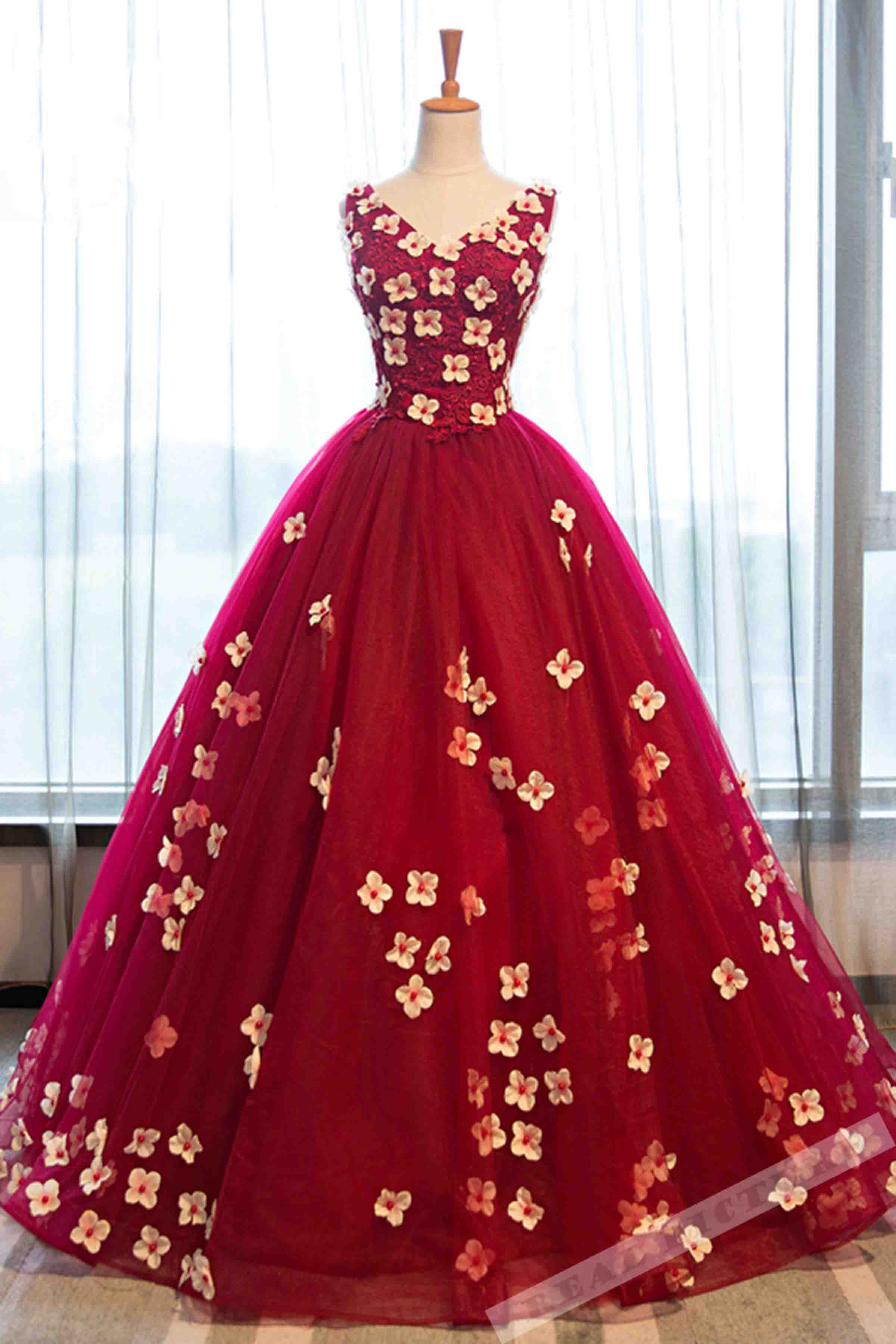 Red organza flowers applique V-neck handmade prom dress,ball gown ...