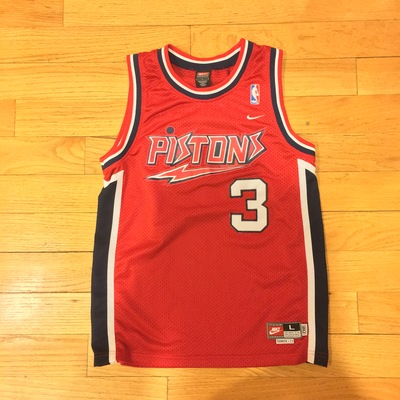 check out 4a83a cb55c Vintage Youth Detroit Pistons NBA Ben Wallace Jersey from KcThreadsNTech