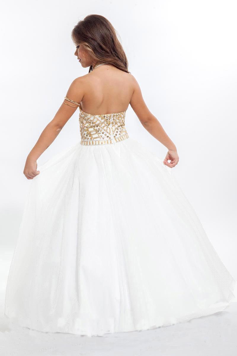 Princess White Balll Gown Flower Girl Dresses Gold
