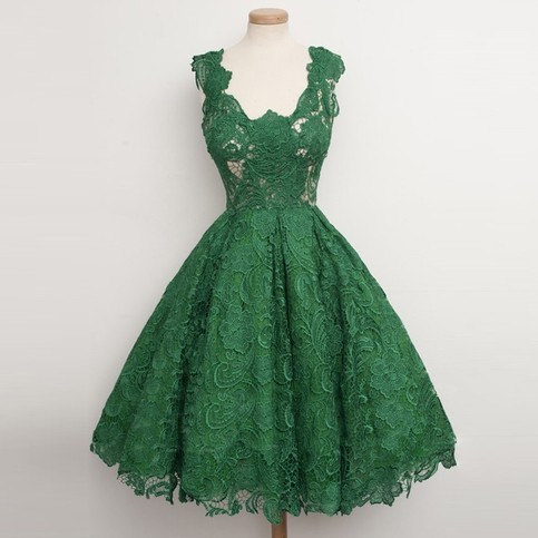 Hot Selling A Line Scoop Green Knee Length Homecoming