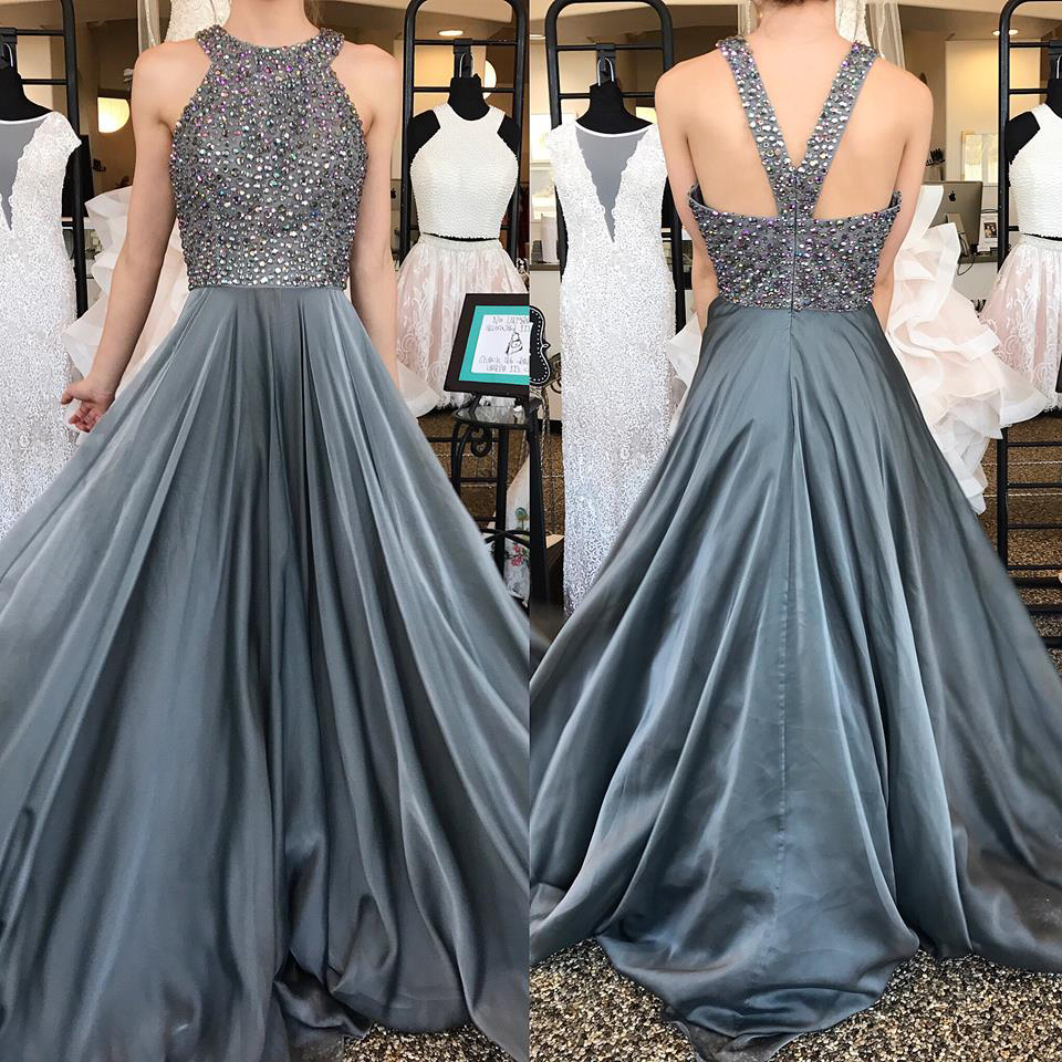 4446233b52e43 Beaded Silver Grey Jewel Neck Prom Dress,A Line Formal Gown ...