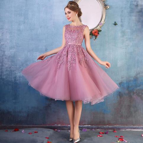 Dusty Rose Illusion Homecoming Dress Short Party Dress