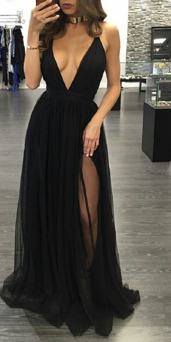 Sexy Prom Dresssleeveless Black Prom Dresses With Slitbackless