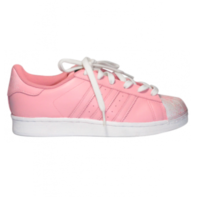 Women Pink & White Custom Speckled Adidas Superstar Low from SneakerSuperShop
