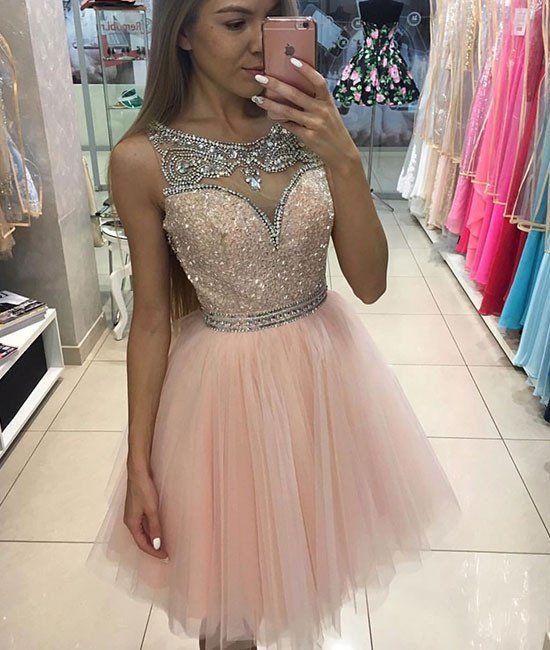 Cute Homecoming Dress,homecoming dresses,pink tulle short prom dress ...